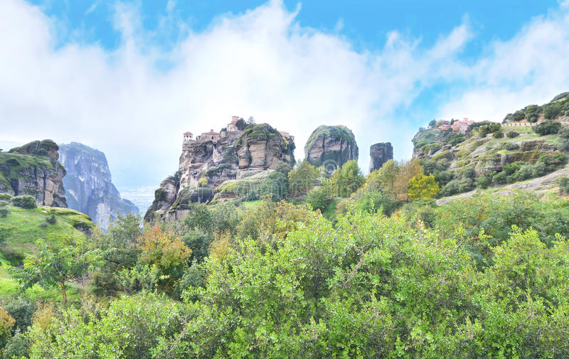 The old monasteries of Meteora Greece royalty free stock images