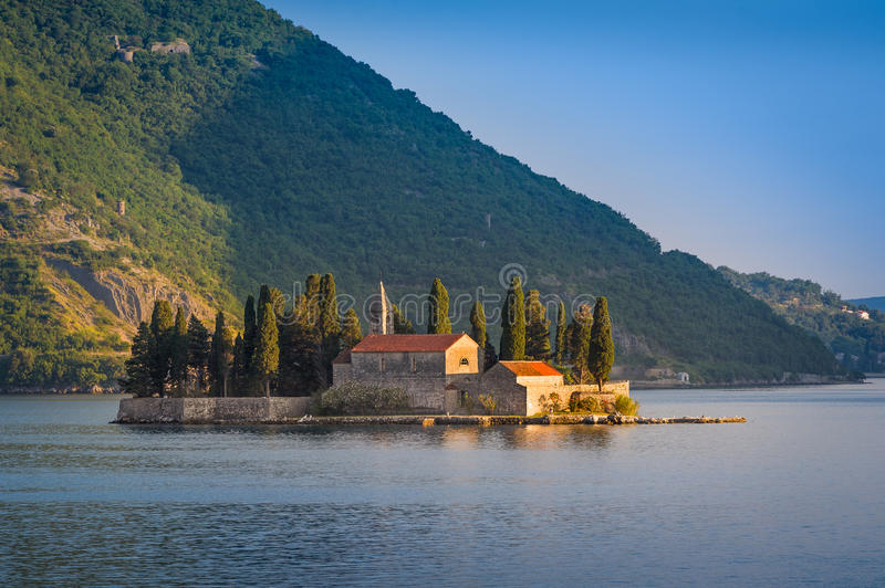 Old monastery on the island of St. George. Kotor bay evening landscape. Perast, Montenegro royalty free stock images
