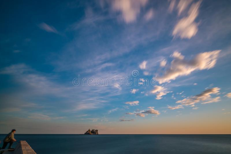 Old monastery on the rock in Petrovac bay royalty free stock photography