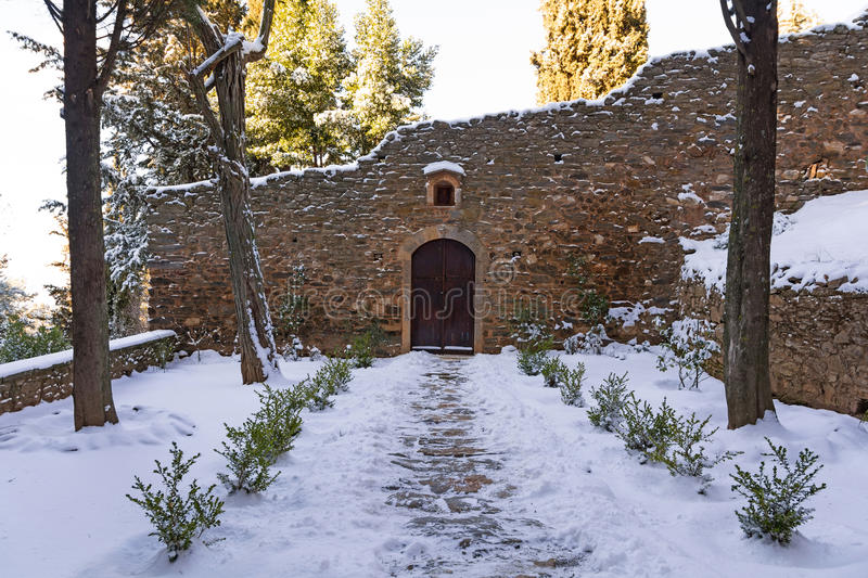 Old monastery. View of the entrance of an old monastery in Ymittos mountain, Athens - Greece royalty free stock photography