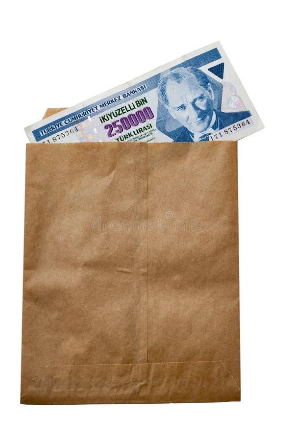 Old money of Turkey in paper envelop stock photo