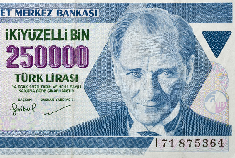 Old money of Turkey macro royalty free stock photos