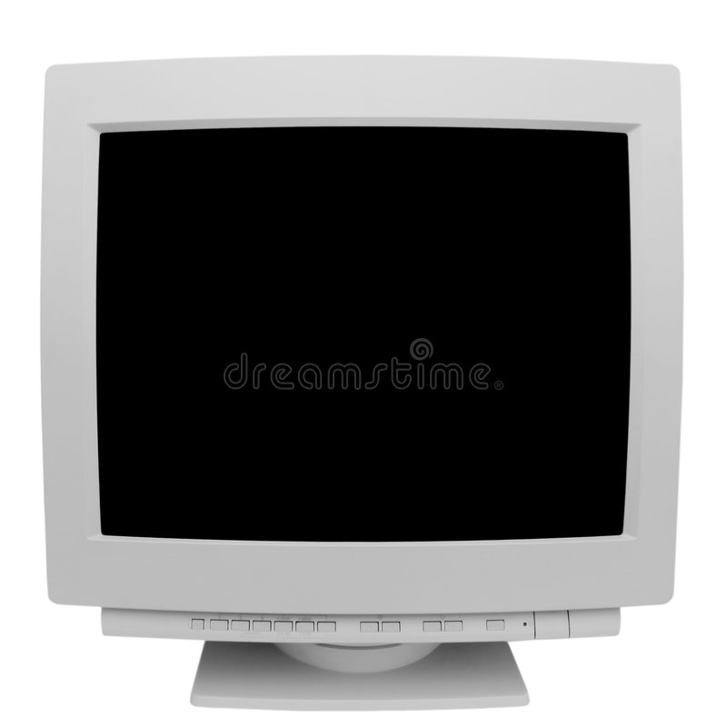 Old monitor. Isolated on white background royalty free stock photo