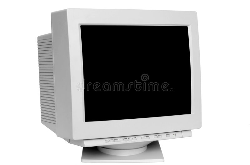 Old monitor. Isolated on white background royalty free stock images