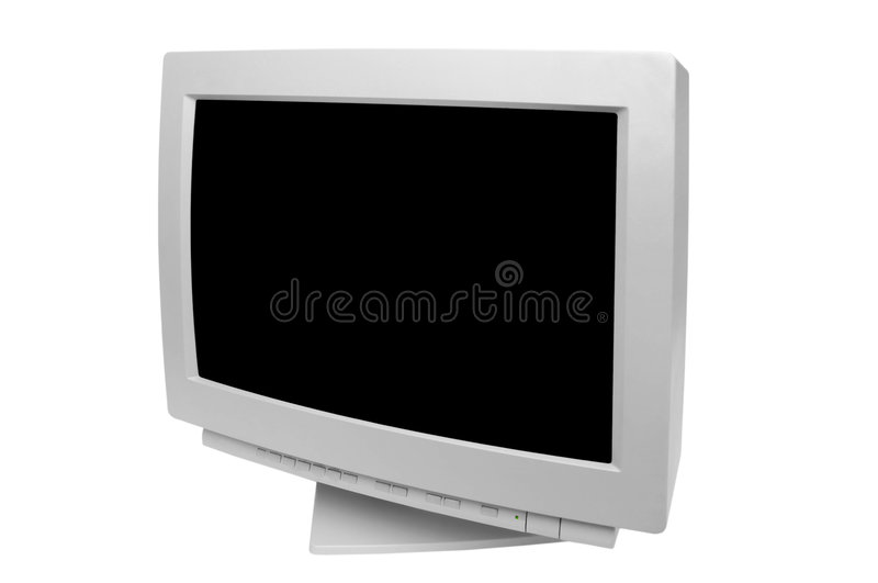 Old monitor. Isolated on white background royalty free stock photography