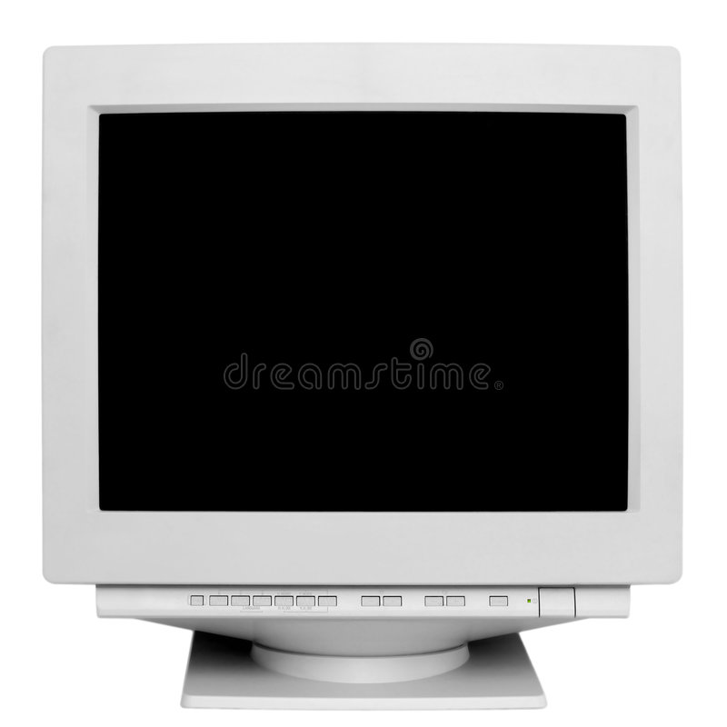 Old monitor. Isolated on white background stock photos