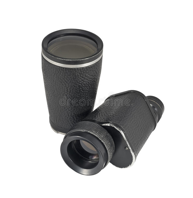 Old monocular with additional lens. Isolated on white background stock photos