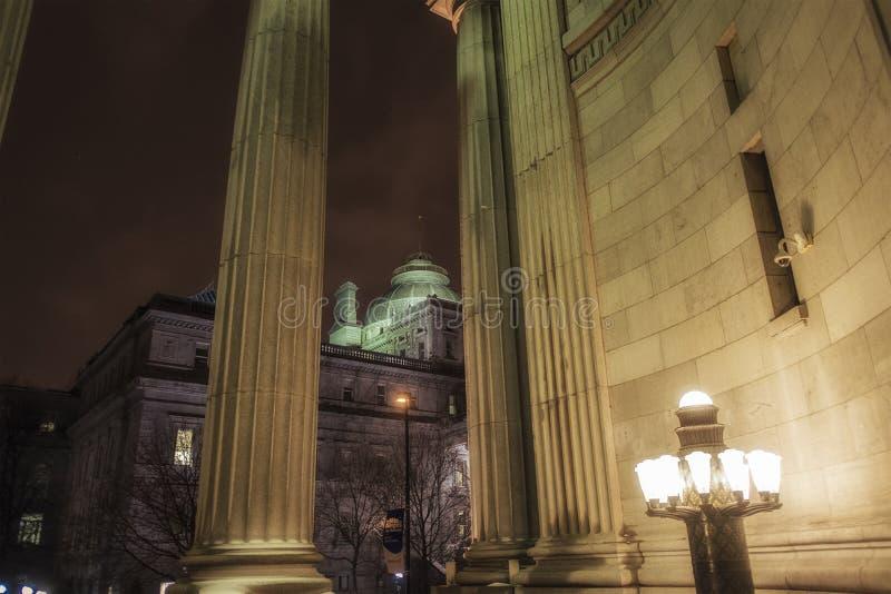 Old Montreal night scene stock image