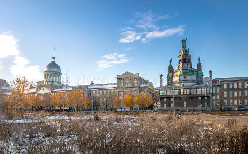 Old Montreal skyline with Bonsecours Market and Notre-Dame-de-Bon-Secours Chapel - Montreal, Quebec, Canada. Old Montreal skyline with Bonsecours Market and royalty free stock photography