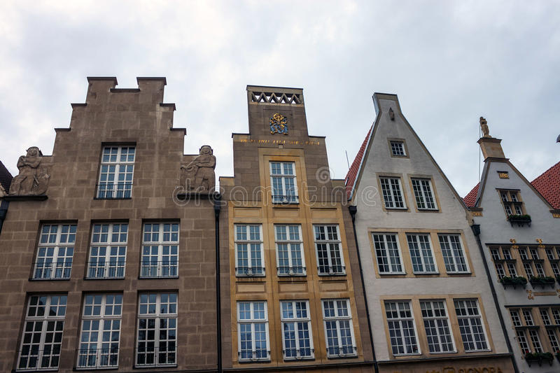Old monumental facades in Munster. Germany royalty free stock photos