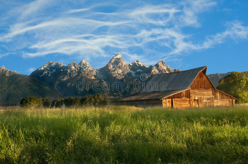 Old Mormon barn in the Tetons royalty free stock photo
