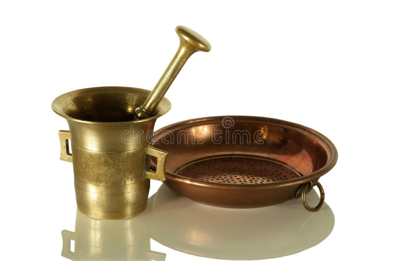 Old mortar and sieve royalty free stock images