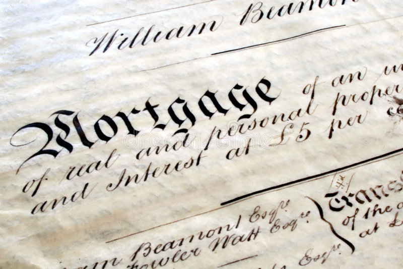 Old Mortgage Deed. Old handwritten mortgage deed, on parchment, British, written in 1861 royalty free stock image