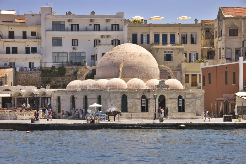 Old mosque. In the port of Chania, Crete island, Greece stock image