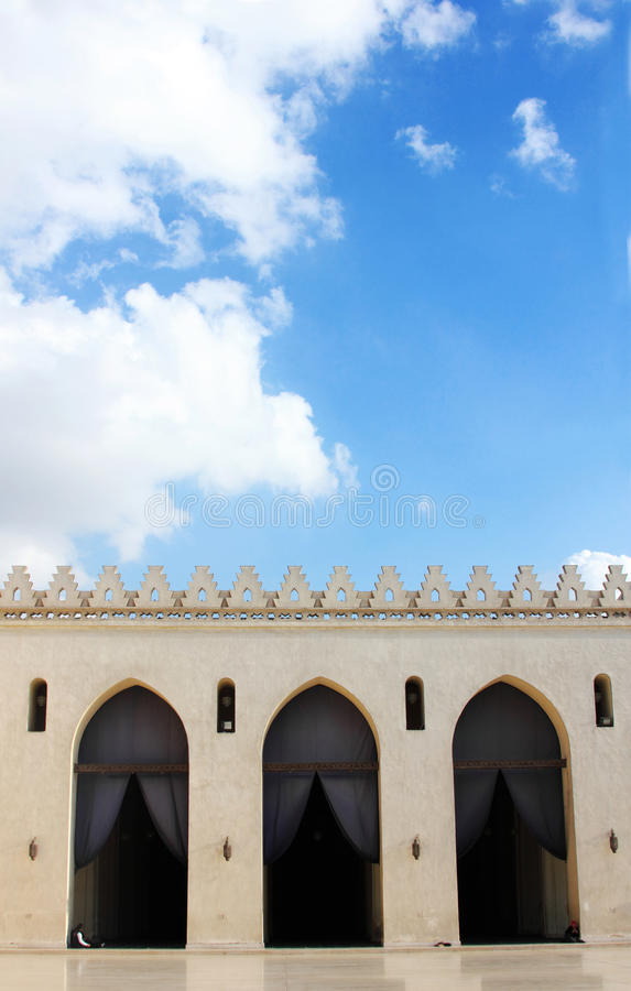 Old mosque in cairo in egypt. Wih cloudy blue sky background royalty free stock images