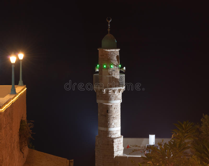 Old Mosque minaret at night, Jaffa, royalty free stock photo