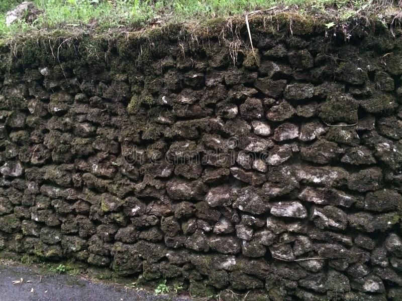 Old mossy rock wall in Costa Rica. Old stone rock wall in mountains in Grecia, Costa Rica royalty free stock photos