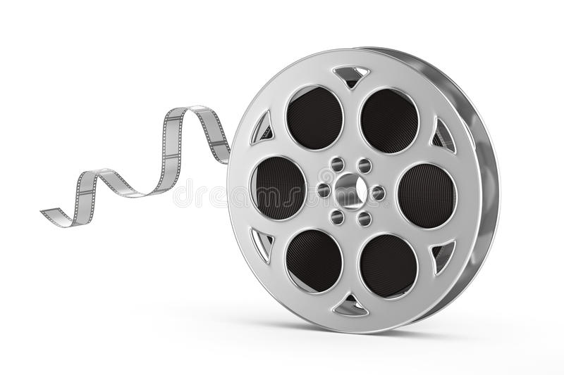 Old motion picture film reel. Isolated on white background royalty free illustration