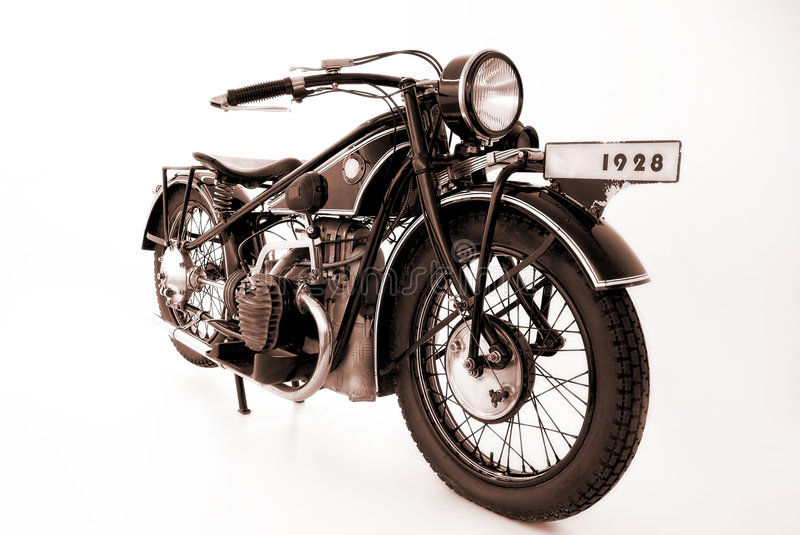 Old motorbikes. (1928) isolated on the white background