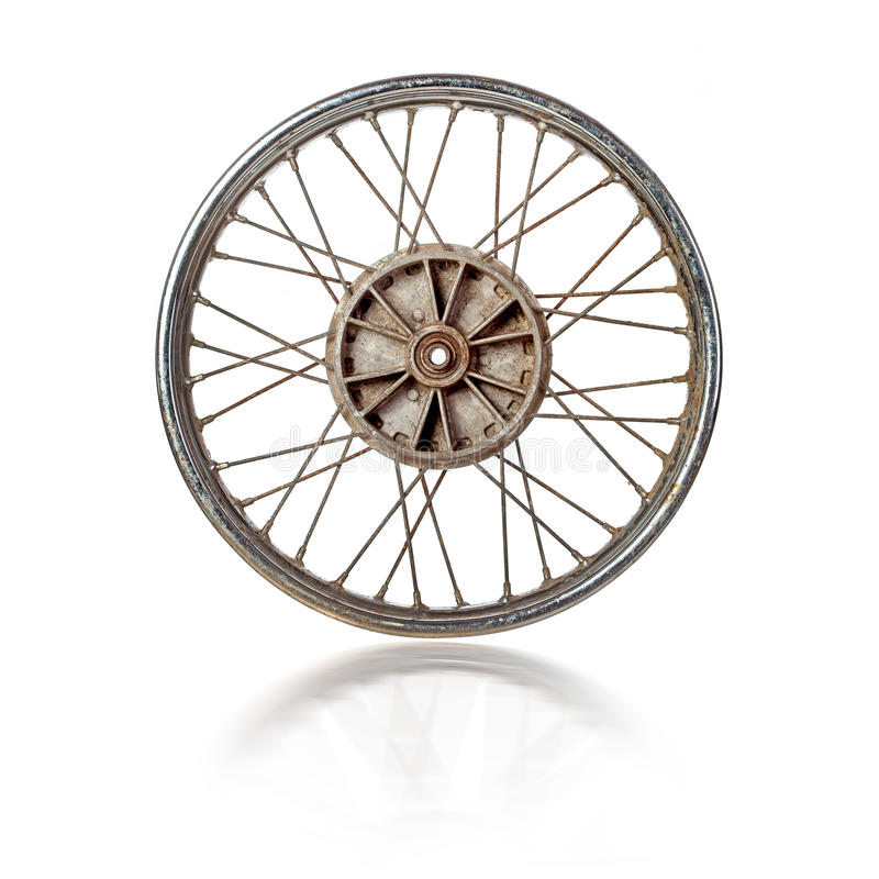 Old motorcycle rim isolated stock images