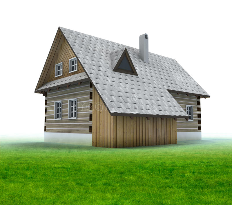 Download Old Mountain Cabin With Grass On White Background Stock Illustration - Image: 28460007