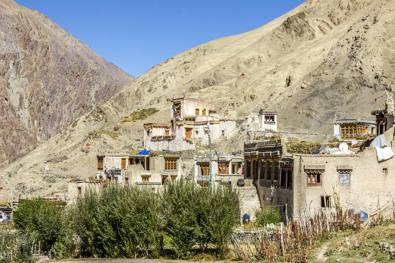 Old mountain village with cloister stock photo