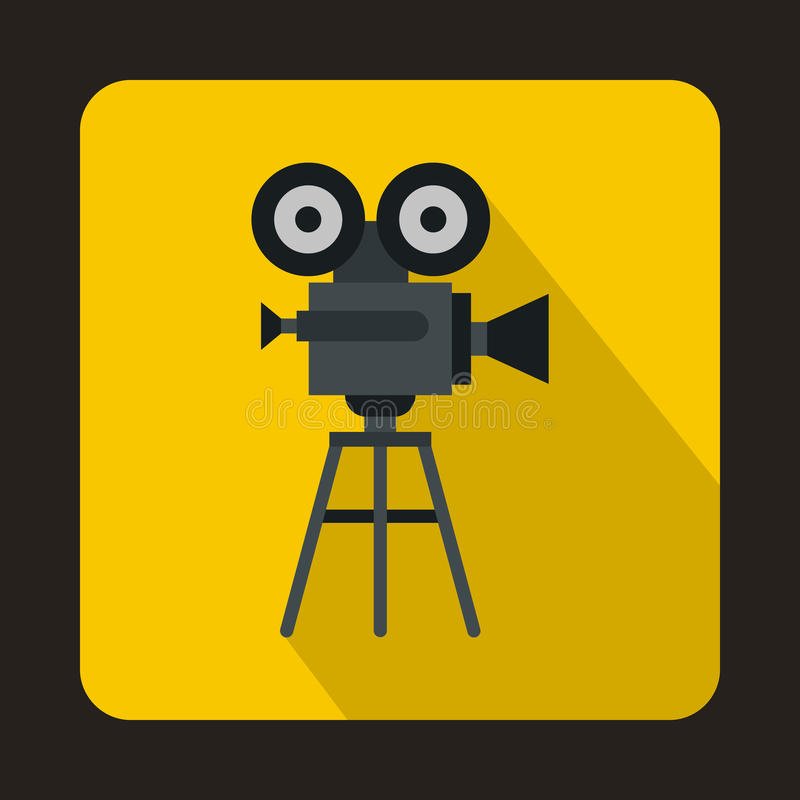 Old movie camera with reel icon, flat style vector illustration