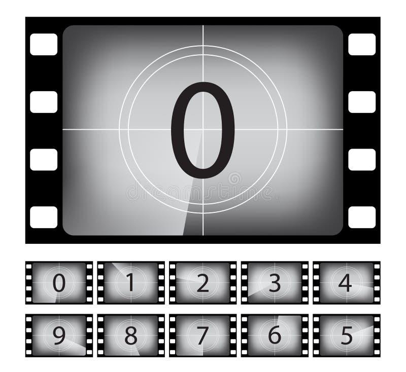 Old movie countdown frame vector illustrations set stock illustration