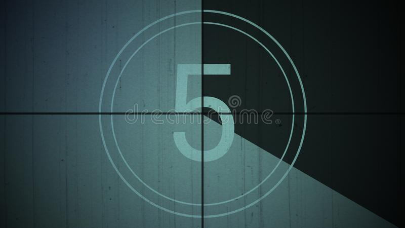 Film vintage countdown number 5 background stock photography