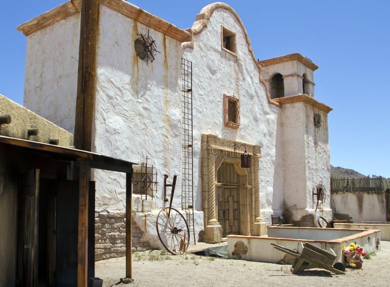 Old Movie Set Spanish Mission Church. In Tucson, Arizona, USA royalty free stock photos