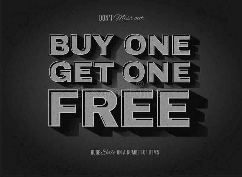 Old movie style BOGO, buy one get one free sign. Vintage movie or retro cinema text effect BOGO, buy one get one free ad vector illustration