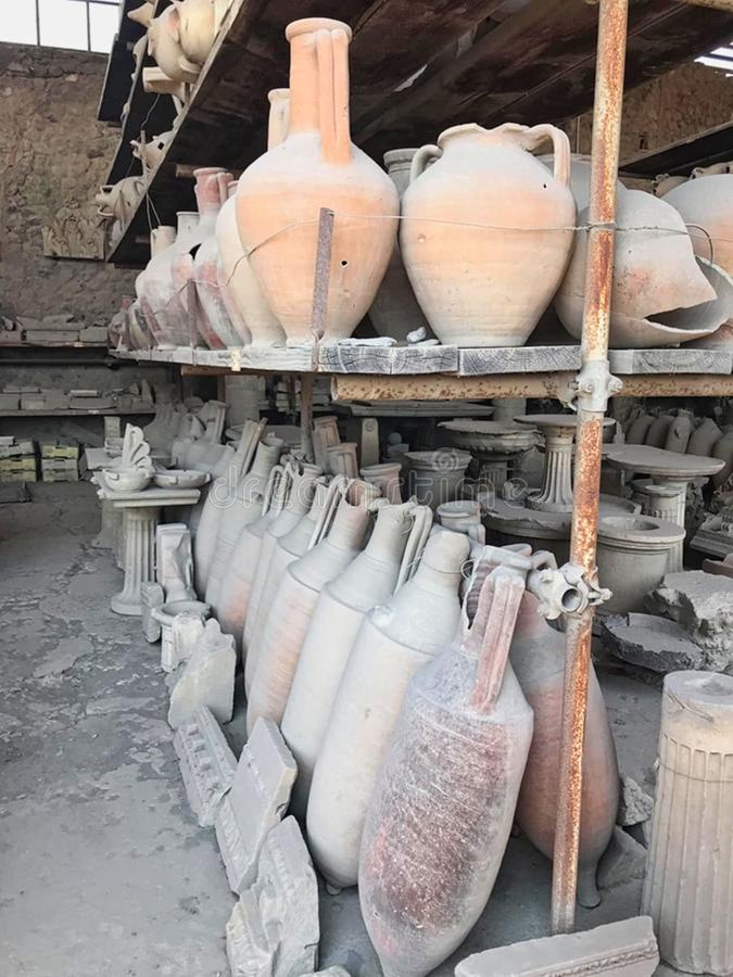 old mugs from Pompeii in italy royalty free stock image