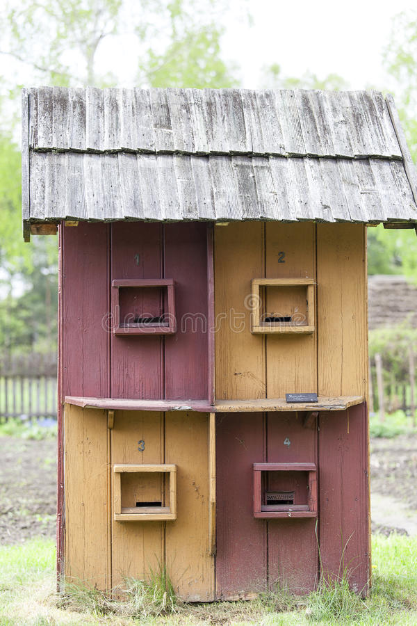 Old multiposition beehive in open-air museum, Kolbuszowa, Poland. Old multiposition beehive in open-air museum, Ethnographic Park, Kolbuszowa, Poland royalty free stock photos