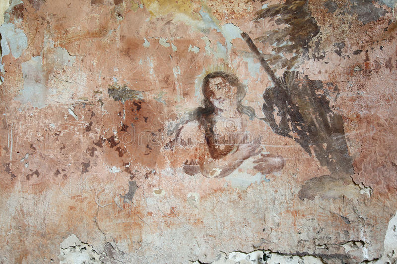 Old mural painting in the ruins of the church. Of Saint Gallus. Ruins of the Church of Saint Gallus from 1733, Bily Kostelec, Czech Republic royalty free stock image