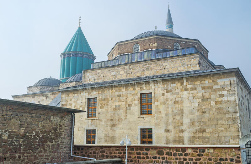 The old Museum. The Mevlana Museum, contains the medieval artifacts and shows the life of the dervish lodge, Konya, Turkey stock images