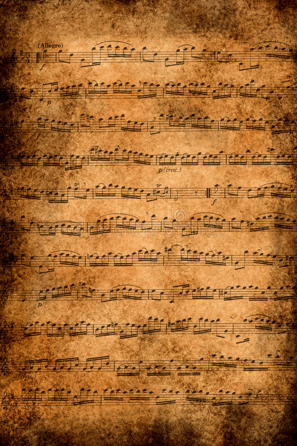 Old music paper. Music by Bach stock photography