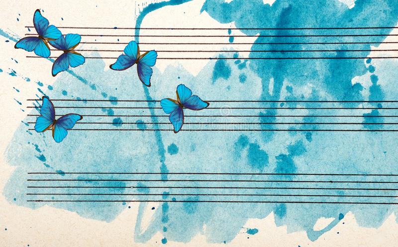 Old music sheet in blue watercolor paint. Blues music concept. Abstract blue watercolor background. stock illustration