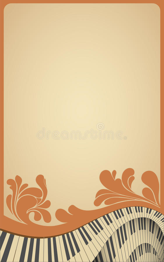 Old musical frame with piano keyboard royalty free illustration