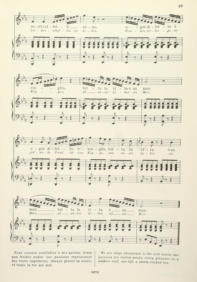 Old musical score - with lyrics royalty free stock image