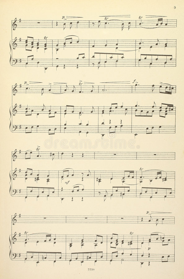 Download Old Musical Score - No Lyrics Stock Photo - Image of song, music: 1820360