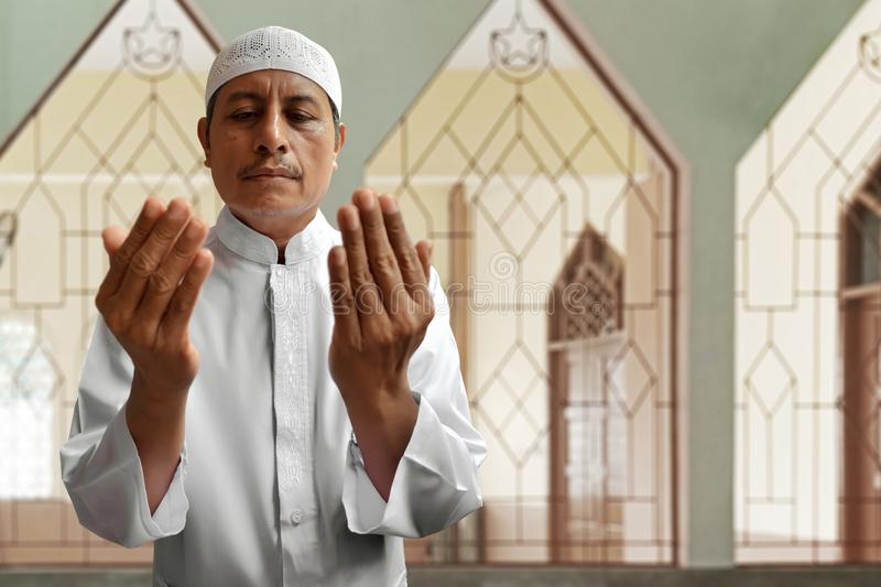 Old muslim man pray in mosque royalty free stock image