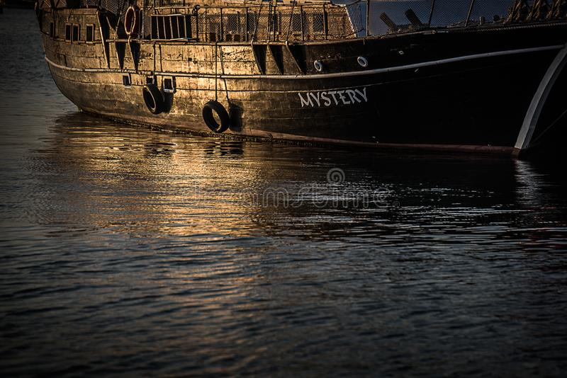 An old mystic ship royalty free stock images
