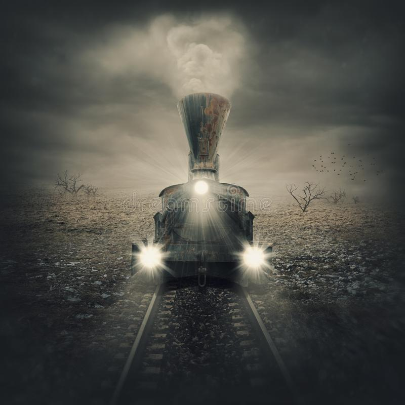 Old mystical train. In desert royalty free stock images
