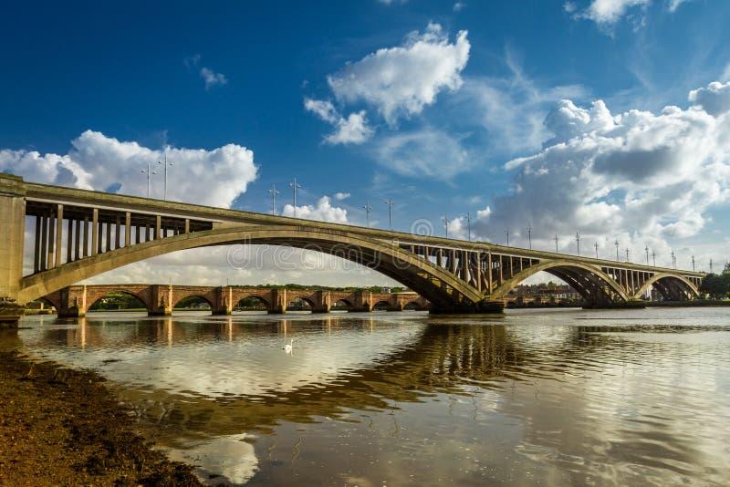 Old nad new bridges in Berwick-upon-Tweed stock photos