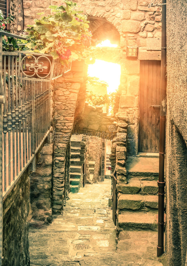 Old narrow alley in Giglio Castello - Antique italian lane in Gi royalty free stock photos