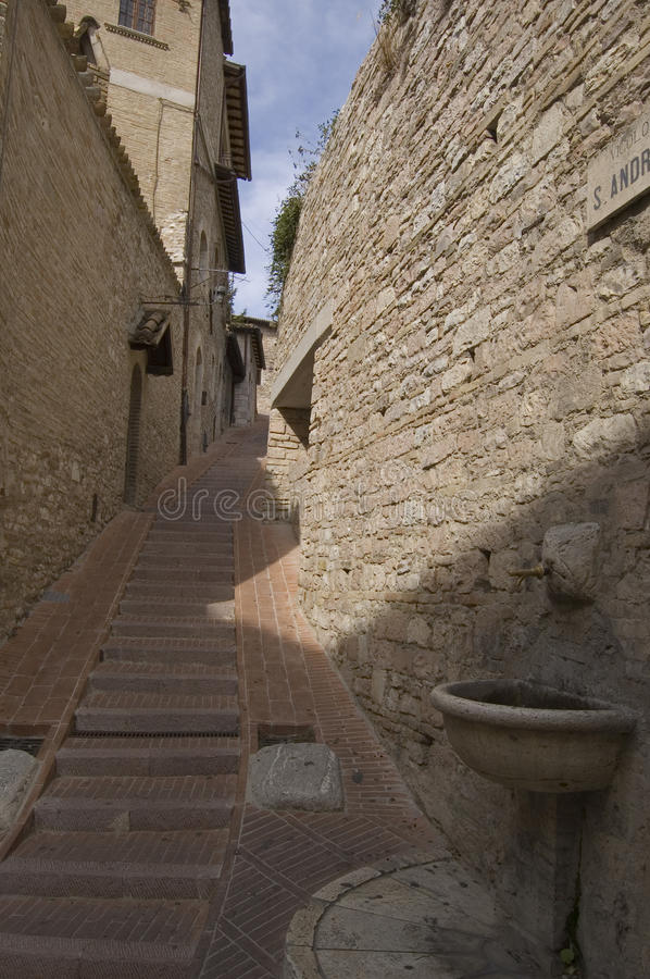 Old narrow sicilian street. Narrow street in a ancient sicilian village, Erice, italy stock photography