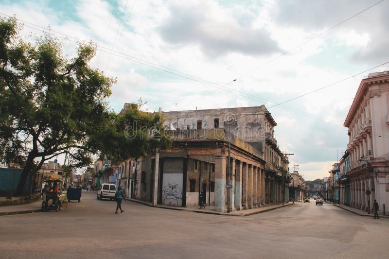 Old street of Havana in Cuba, Caribbeans royalty free stock images