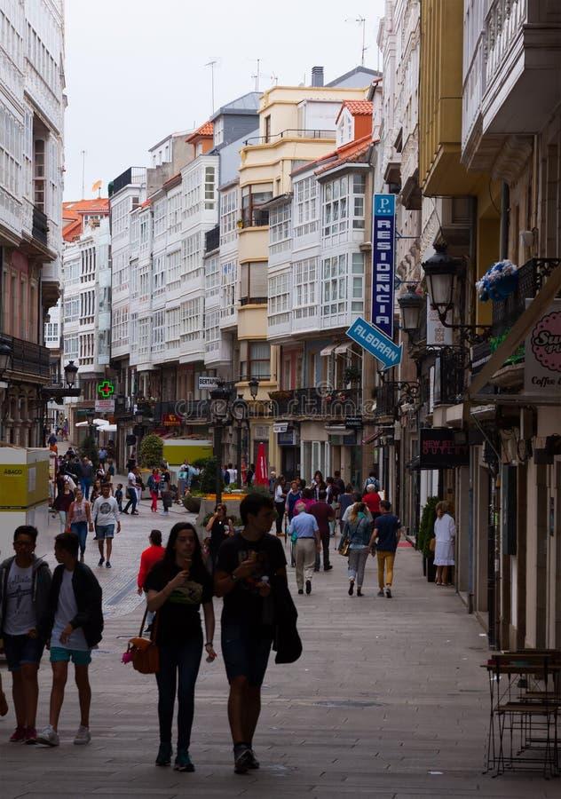 Old narrow street in historic part of A Coruna stock photos
