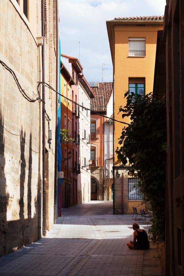 Old narrow street in spanish city. Logrono stock image