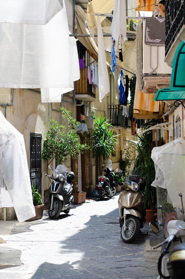 Old narrow streets of Bari city, Puglia, Southern Italy royalty free stock image